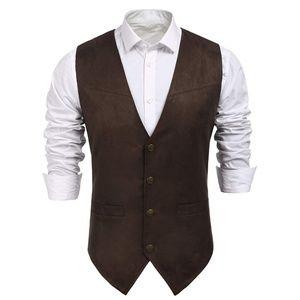 Men's Trendy Button Down Suede Vest